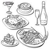Abendessen-Satz-Sammlung Stockbilder