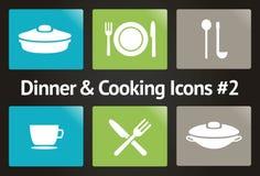 Abendessen u. Kochen der vektorikone gesetztes #2 Lizenzfreies Stockbild