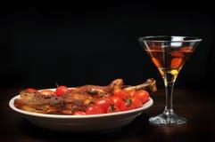Abendessen- und Weineinstellung Stockbild