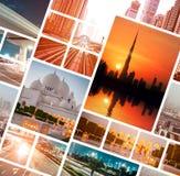 Abendfoto von Dubai und von Abu Dhabi Stockbild