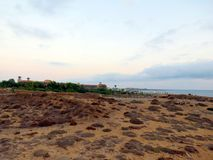 Abendhimmel über der Küste von Zypern Stockbild
