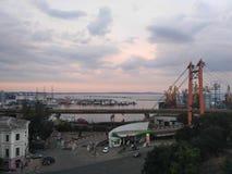 Abendlandschaft der Hafenstadt Lizenzfreies Stockbild
