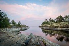 Abendlandschaft der szenischen Karelien-Republiknatur Stockfotografie