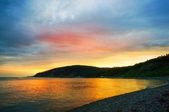 Abendlandschaft des Meeres lizenzfreie stockfotos