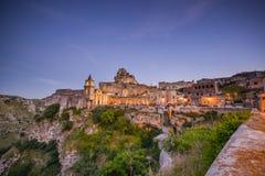Abendlicht in der Mitte von Matera Italien Stockbild