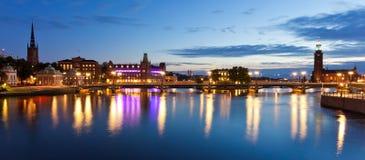 Abendpanorama von Stockholm, Schweden lizenzfreies stockbild