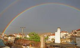 Abendregenbogen über Mustafapasha Stockbild