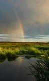 Abendregenbogen. stockbild