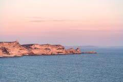 Abendsonne dachte über Klippen bei Bonifacio in Korsika nach Lizenzfreie Stockfotos