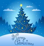 Abendszene 3 der frohen Weihnachten Lizenzfreie Stockbilder