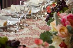 Abendtisch an der Hochzeit Stockbild