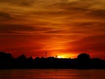 Abendufergegend-Flussseite der Mekong lizenzfreies stockfoto