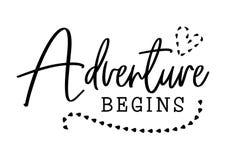 Abenteuer fängt an Hochzeitstypographiedesign Bräutigam- und Brautheiratzitat mit Herzen Vektor-Abenteuer fängt an, Phrase zu bes lizenzfreie abbildung