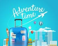 Abenteuer-Zeit Vektorreiseillustration Stockfotografie