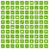 100 Abenteuerikonen stellten Schmutzgrün ein Stockbild