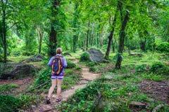 Abenteurerin- oder Reisendfrau gehen, auf Spur im Wald zu wandern Stockbilder