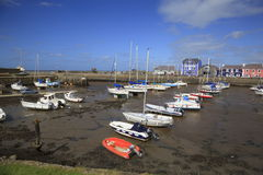 Aberaeron Harbour. Boats moored up in Aberaeron Harbour royalty free stock images