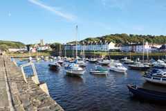Aberaeron Harbour looking east to the church. Wales, uk stock images