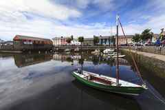Aberaeron harbour. Small boats are moored up in the inner harbour of Aberaeron Harbour Royalty Free Stock Photography