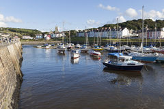 Aberaeron - Welsh harbour. The picturesque Welsh harbour town, famous for is multi-coloured Georgian architecture stock image