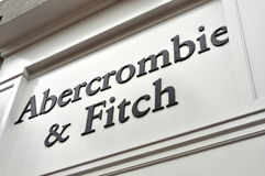 Abercrombie & Fitch store and sign. Abercrombie & Fitch sign in a flagship store in the United States Stock Images