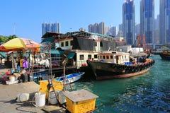 Aberdeen är ett fiskeläge i Hong Kong Royaltyfri Foto