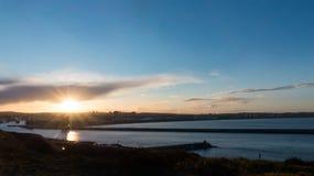 Aberdeen City coast view during sunset, Scotland stock image