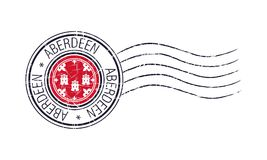 Aberdeen city grunge postal rubber stamp. And flag on white background royalty free illustration