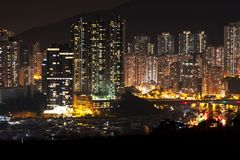 Aberdeen e Shum pallidi alla notte fotografie stock libere da diritti