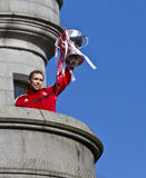 Aberdeen Football Club Captain Russell Anderson with trophy. Aberdeen football club captain  Russell Anderson displays 2014 Scottish League Cup winning trophy Royalty Free Stock Images