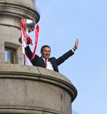 Aberdeen Football club Manager Derek McInnes with trophy. Aberdeen football club manager Derek McInness displays 2014 Scottish League Cup winning trophy at the Stock Image
