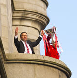 Aberdeen Football Club ManagerDerek McInnes and  Captain Russell Anderson with trophy. Aberdeen football club  manager Derek McInnes and captain  Russell Stock Image