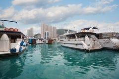 Aberdeen hamn med yachter i Hong Kong Arkivfoton