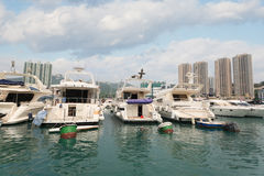 Aberdeen hamn med yachter i Hong Kong Royaltyfri Fotografi