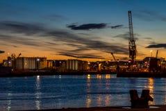 Aberdeen hamn på skymning Royaltyfri Bild