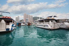 Aberdeen harbor with yachts in Hong Kong Stock Photos