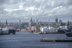 Aberdeen harbour. Scotland, UK stock image