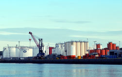 Aberdeen Harbour: storage tanks Stock Photo