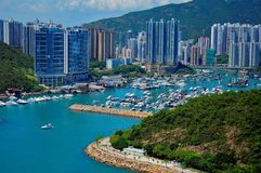 Aberdeen, hong kong. View of aberdeen, hong kong, from the ocean park royalty free stock image