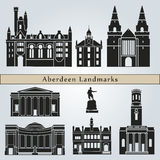 Aberdeen landmarks and monuments. On blue background in editable vector file Royalty Free Stock Images
