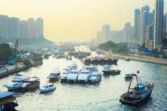 Aberdeen område i Hong Kong Arkivfoto