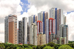 Aberdeen's colorful high-rise apartments in Hong Kong Stock Image