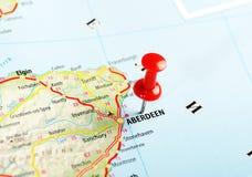 Aberdeen Schotland; De kaart van Groot-Brittannië Stock Afbeeldingen