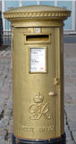 Aberdeen, Schotland: Gouden Postbus, 2012 Olympics Royalty-vrije Stock Fotografie