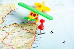 Aberdeen Scozia; Aeroplano della mappa della Gran Bretagna Fotografia Stock Libera da Diritti