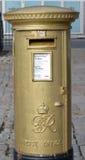 Aberdeen, Scozia: Contenitore dorato di posta, 2012 Olympics Fotografia Stock Libera da Diritti