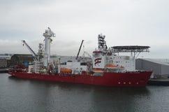 Aberdeen - Skottland hamn, huvudsaklig nyckel för den frånlands- branschen för Nordsjönfossila bränslen Fotografering för Bildbyråer