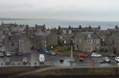Aberdeen - Skottland hamn, huvudsaklig nyckel för den frånlands- branschen för Nordsjönfossila bränslen Arkivbild