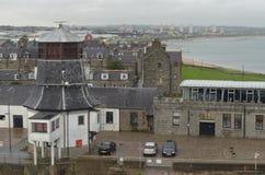 Aberdeen - Skottland hamn, huvudsaklig nyckel för den frånlands- branschen för Nordsjönfossila bränslen Arkivfoton