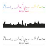 Aberdeen skyline linear style with rainbow Royalty Free Stock Image